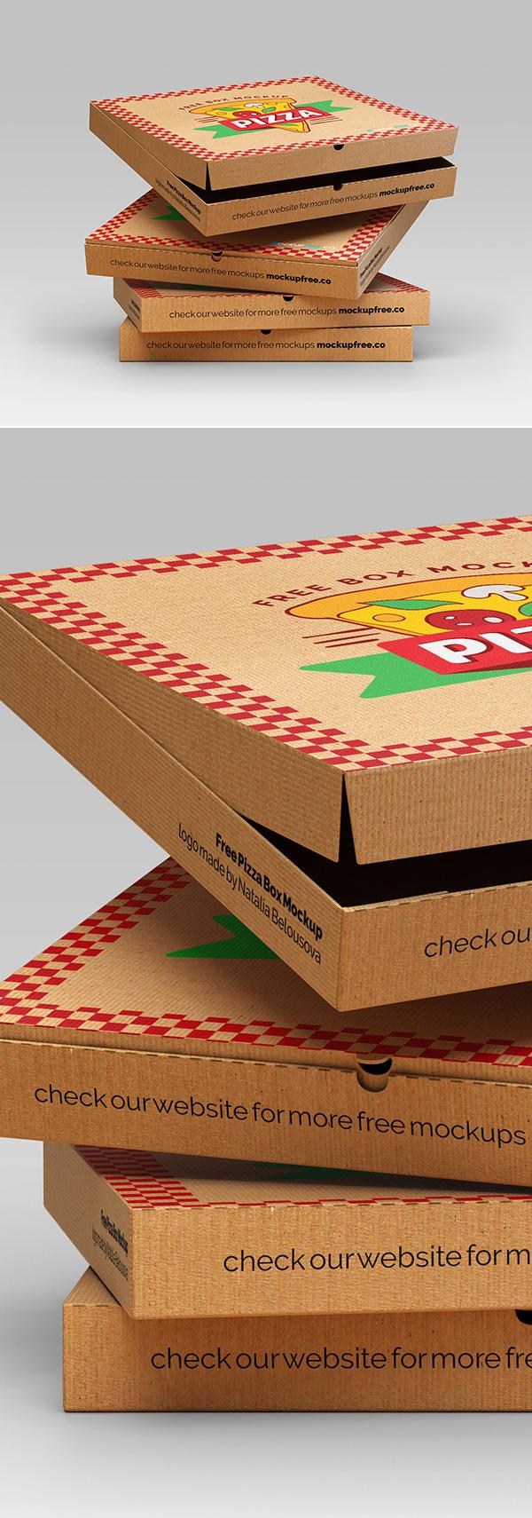 Free Pizza Box Mockup set