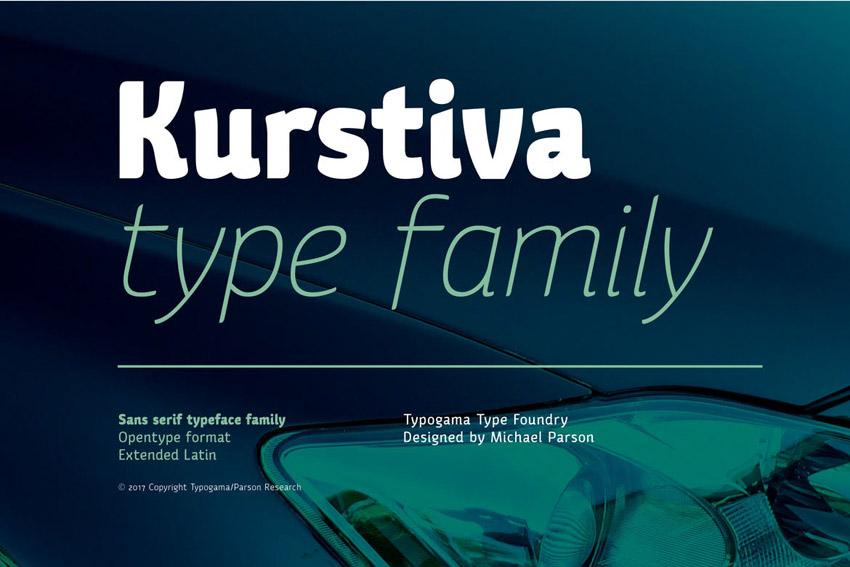 Kurstiva Sans Serif Typeface Family