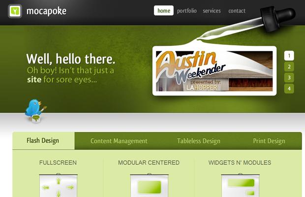 mocapoke website green layout design inspiring