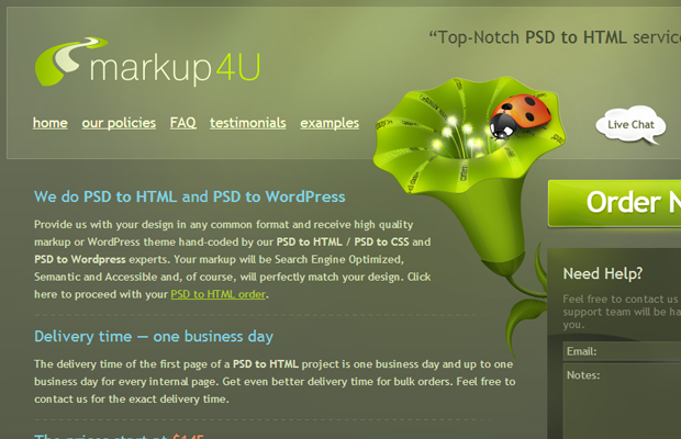 green layout inspiring markup4u coding