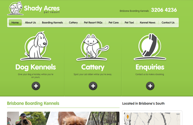 pet resort vacation homepage green website