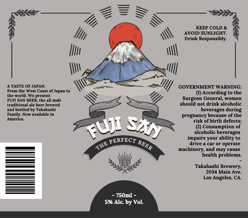 Fuji San Beer Label Size Design