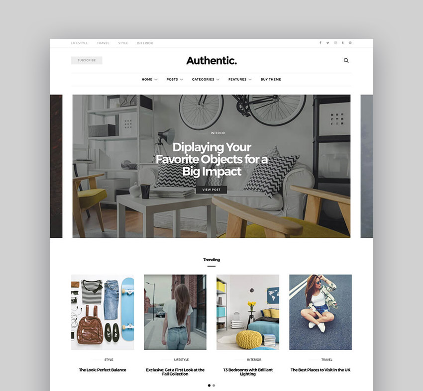 Authentic Minimal Lifestyle WordPress Blog Theme