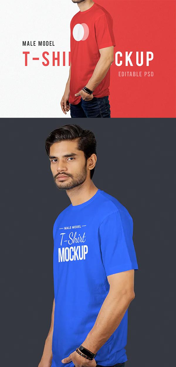 Man Model T-Shirt Mockup