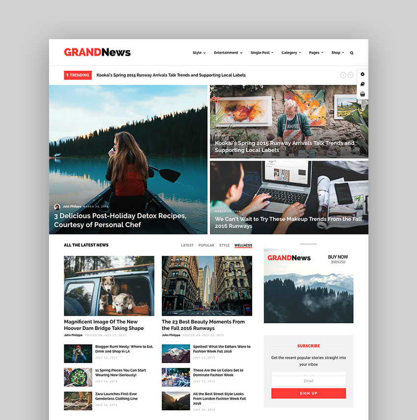 Grand News Clean Magazine WordPress Theme