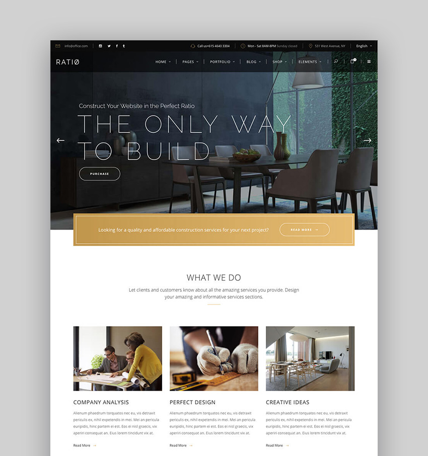 Ratio Modern WordPress Theme With Clean Web Page Design
