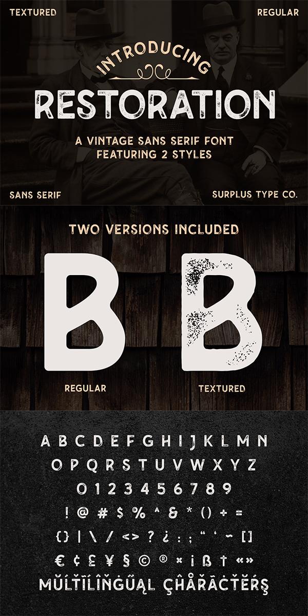 Restoration - Vintage Sans Serif Font