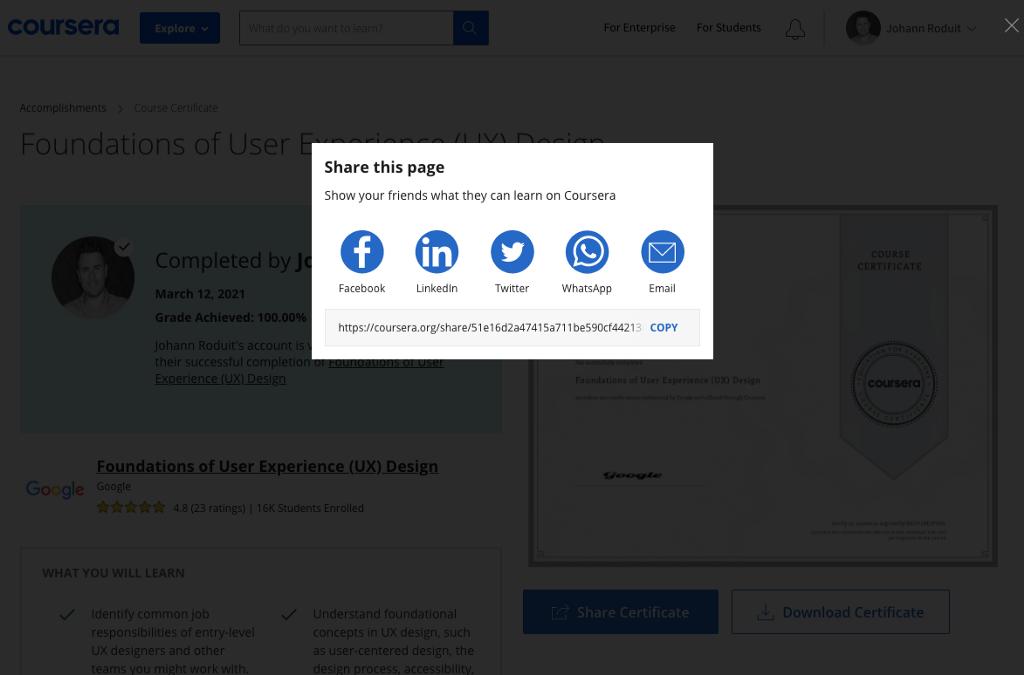 Screenshot of sharing buttons
