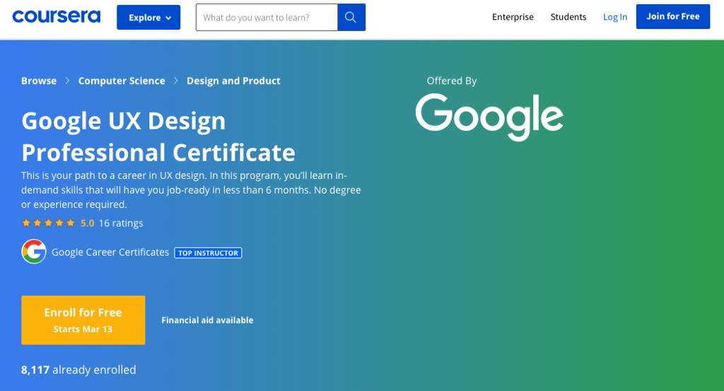 Screenshot of the course homepage on coursera