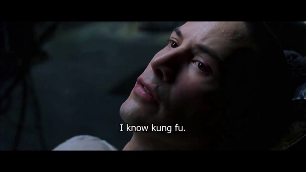 Close-up of Neo from the Matrix downloading information