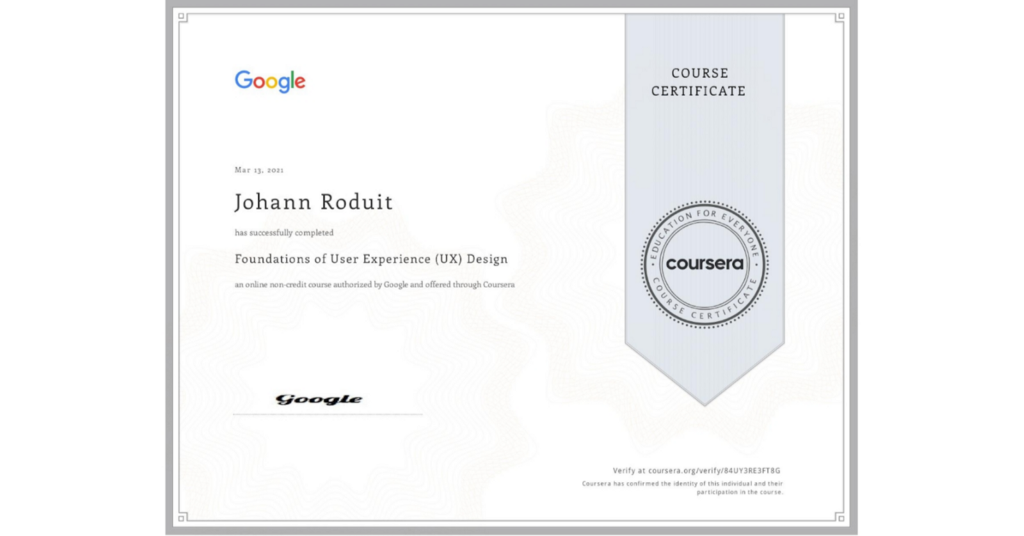 Image of my course certificate