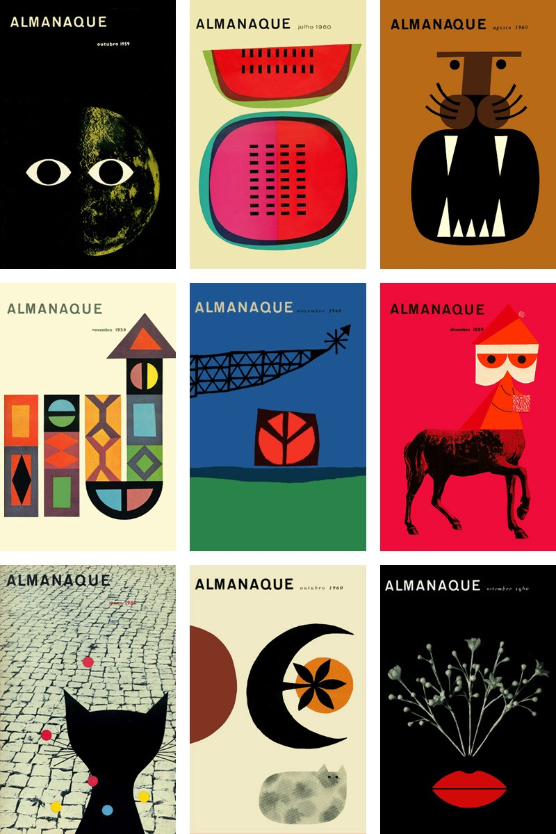 Nine Almanac magazines covers