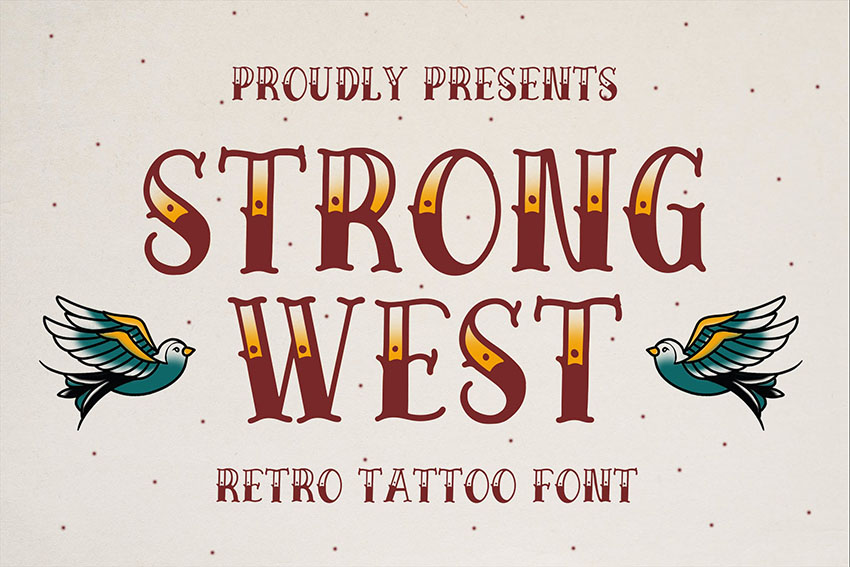 Strong West - Retro Tattoo Font