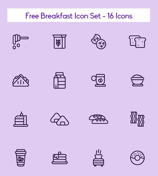 Free Breakfast Icon Set - 16 Icons