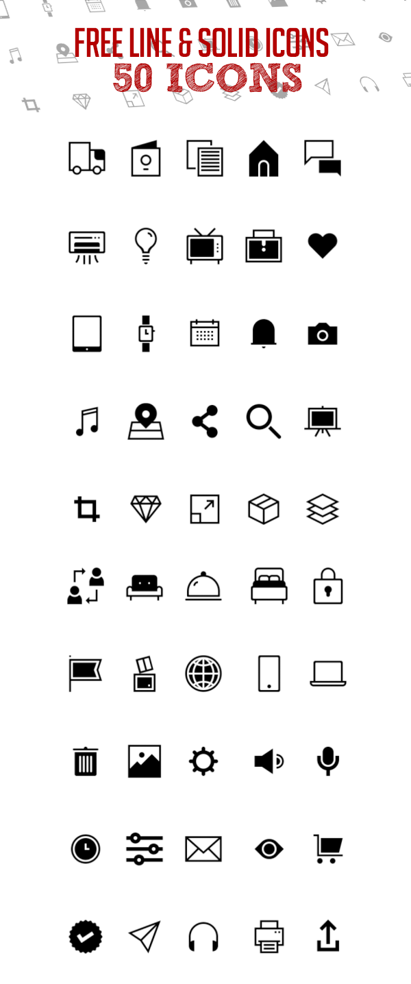 Free Line and Solid Icon Pack - 50 Icons
