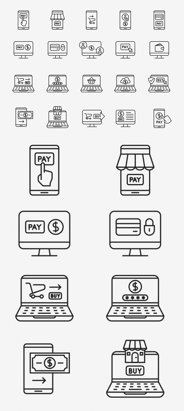 Free Online Payment Vector Icons - 20 Icons