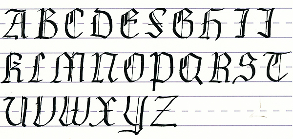 gothic script - uppercase letters