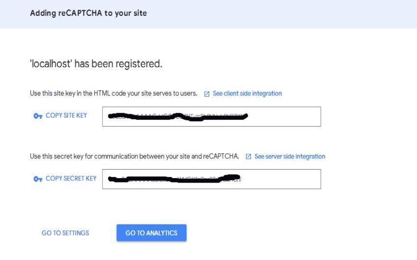 reCAPTCHA admin panel: Copy Keys