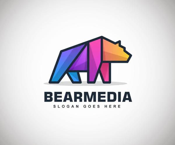 Bear Color Line Logo Vector Template