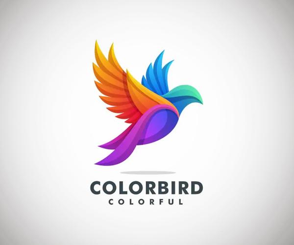 Fly Bird Colorful Logo