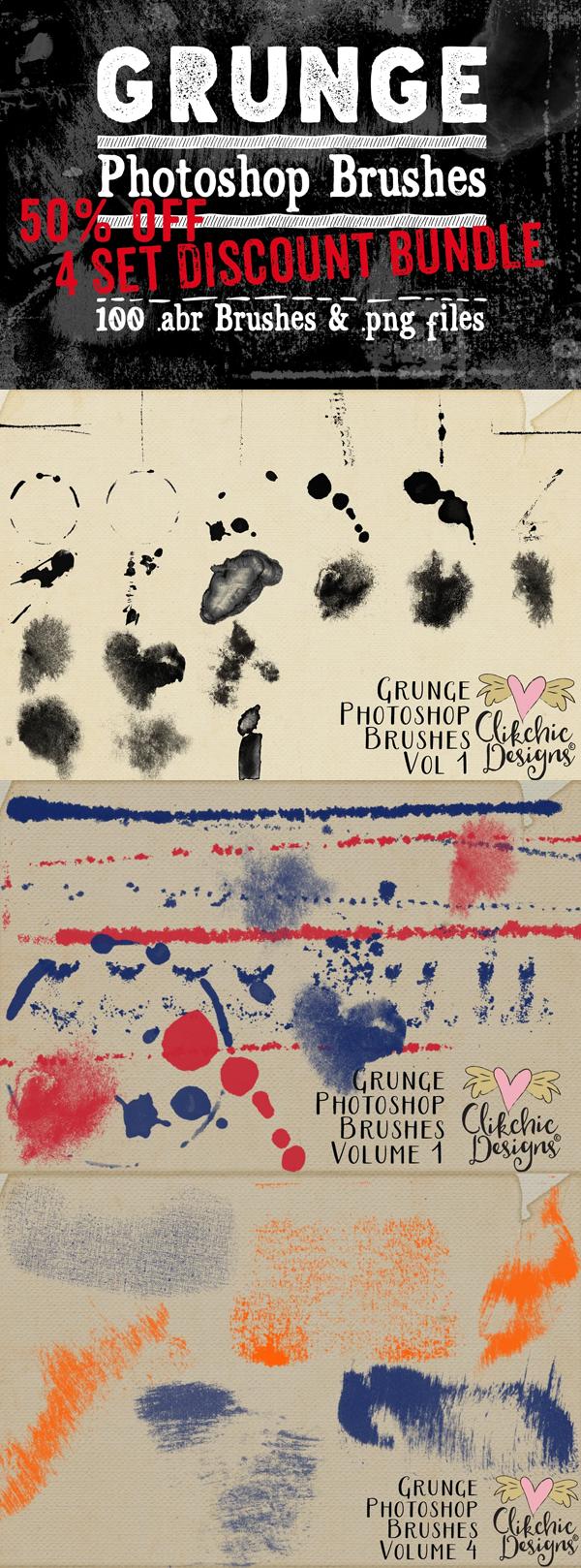Grunge Texture Photoshop Brushes