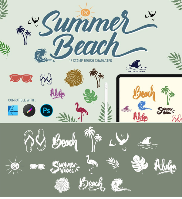Summer beach Stamp brushes for Photoshop