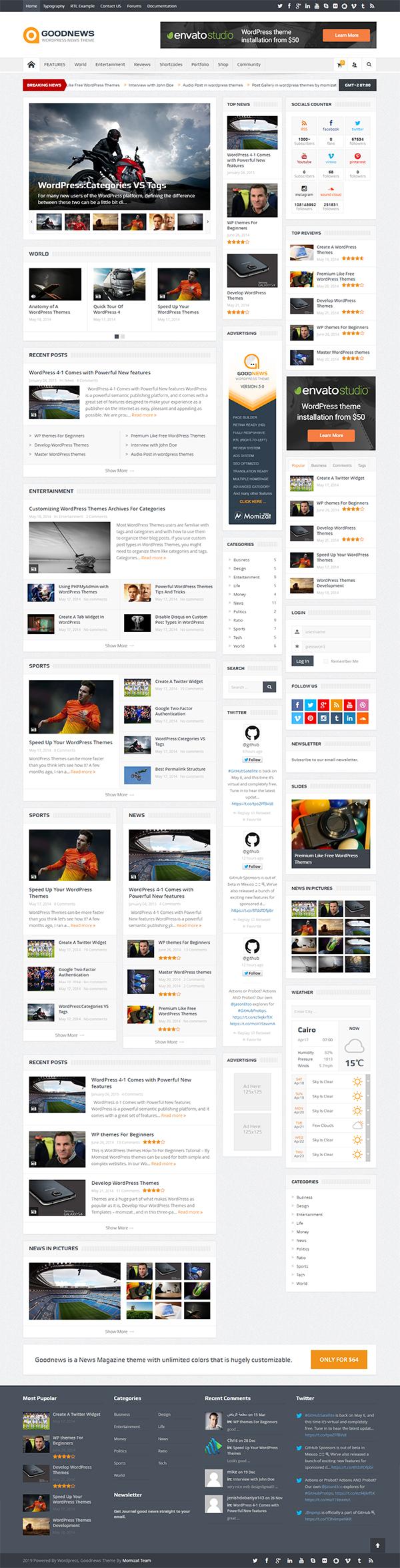 Goodnews – Responsive WordPress News / Magazine