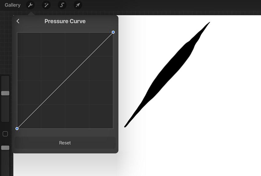 procreate edit pressure curve