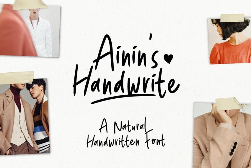 Ainin's Handwrite Font   Playfull Fun Typeface