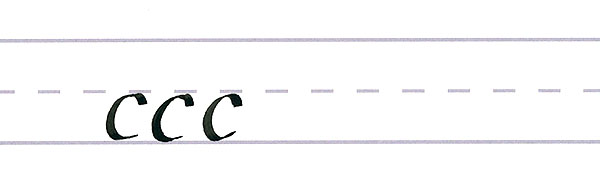 roundhand script - letter c multiples