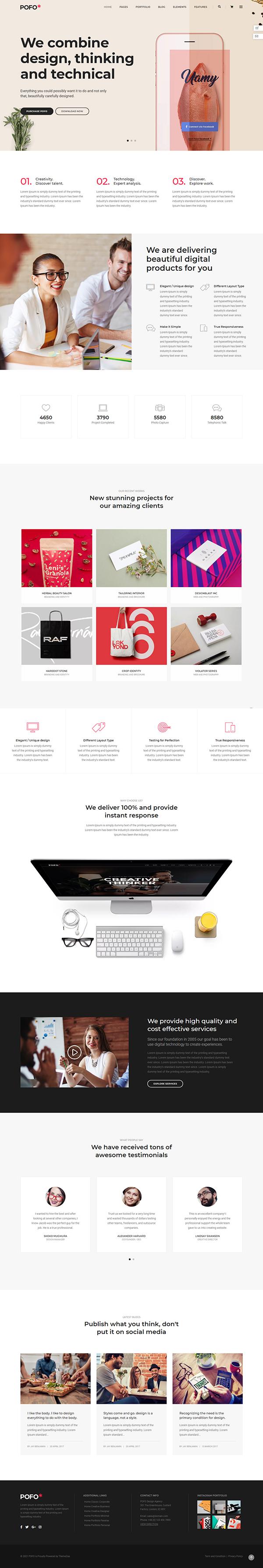 Pofo - Creative Portfolio and Blog WordPress Theme