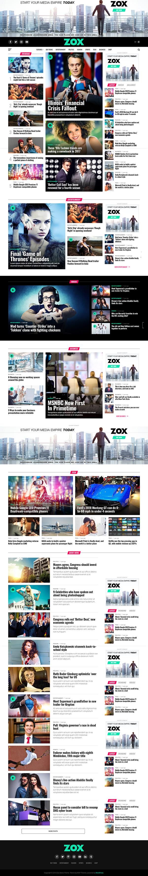 Zox News - Professional WordPress News & Magazine Theme