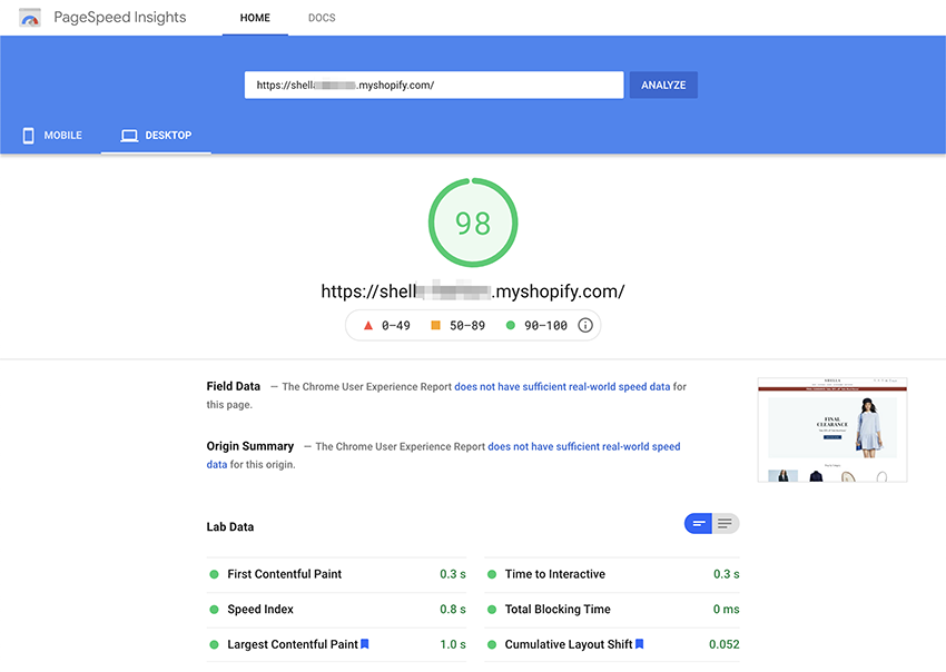 Test theme page speed with PageSpeed Insights tool