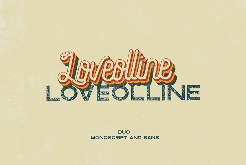 LOVEOLLINE - Retro Cursive Font with San Serif
