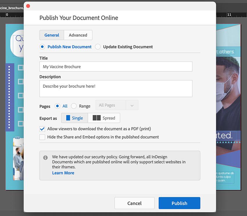 indesign publish settings