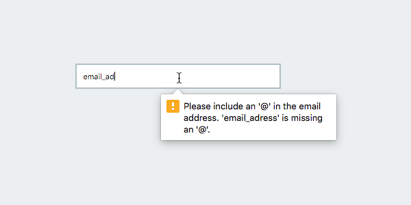 Invalid email address error message