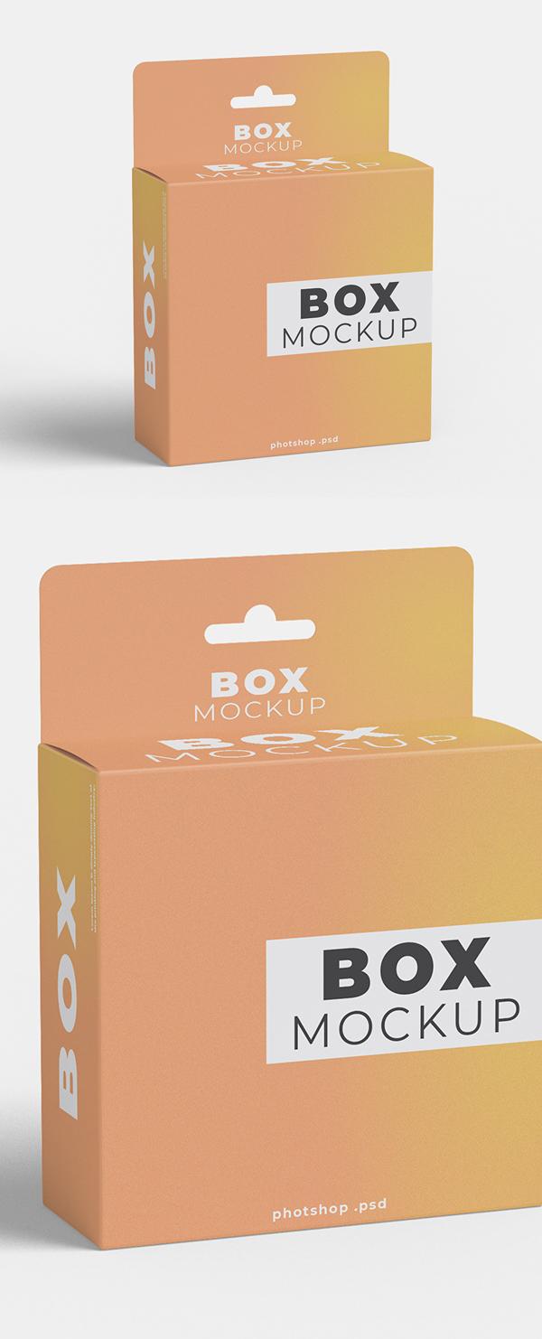 Free Box Hanging Mockup