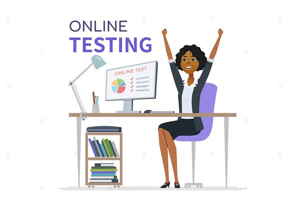 Online testing - cartoon character illustration