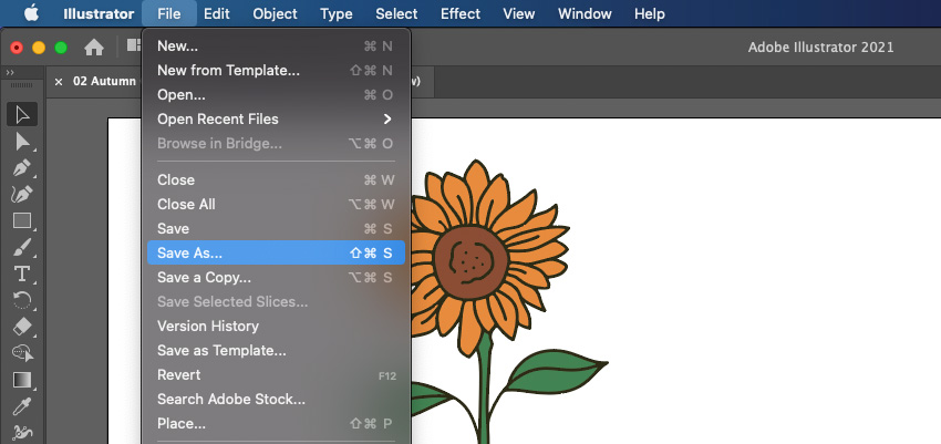 Cricut Sunflower Illustrator Save As