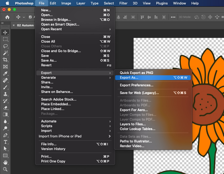 SVG Photoshop Export As