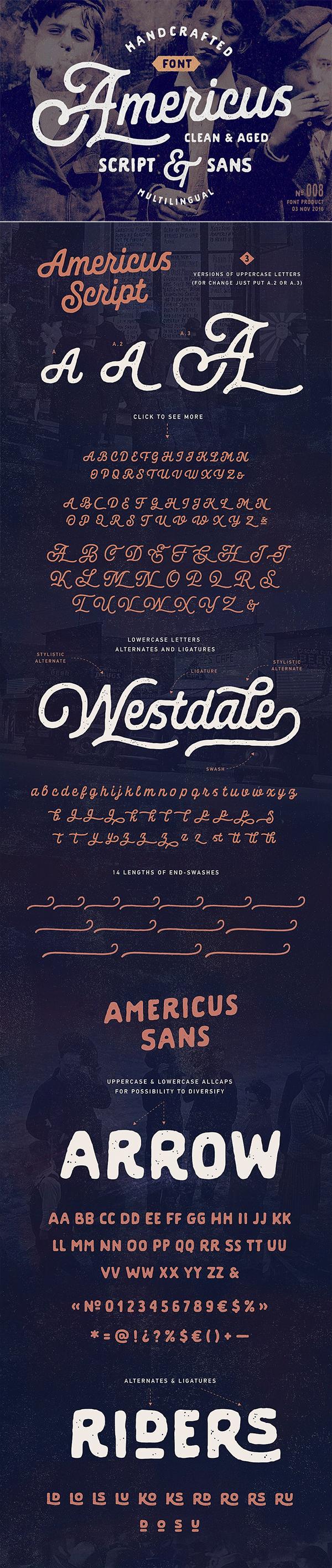 Americus Script & Sans Font