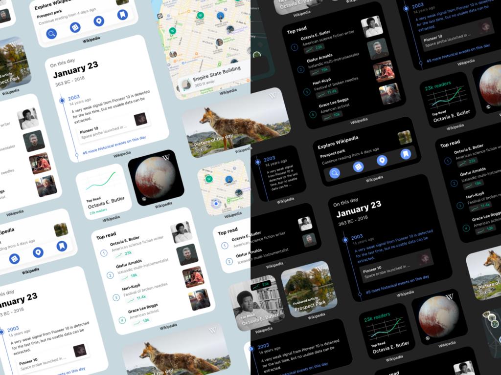 Screenshot of various iOS widgets