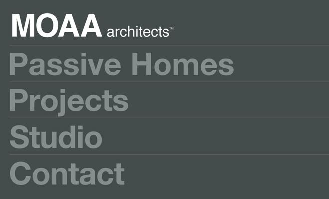 moaa architects dark website layout