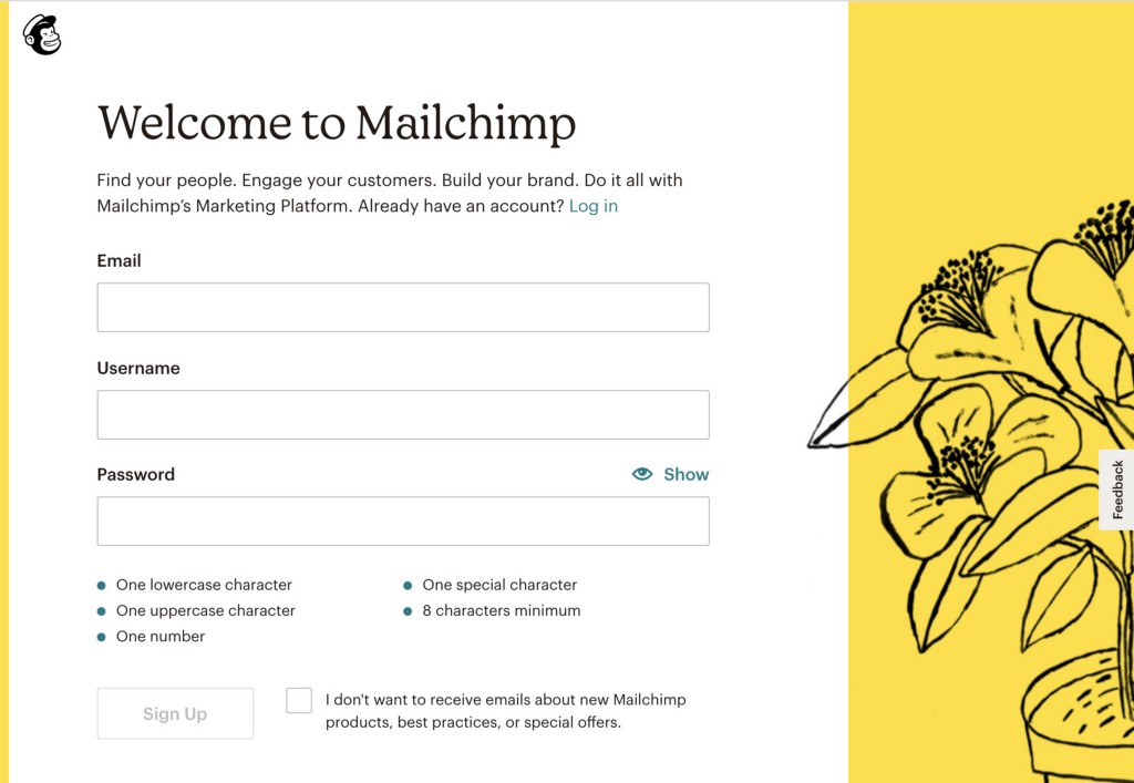 Welcome to Mailchimp signup screen