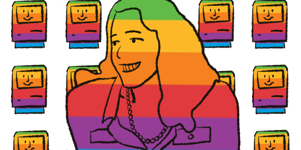 A drawing of a smiling woman (Susan Kare) with a background of smiling, rainbow Macintosh computer