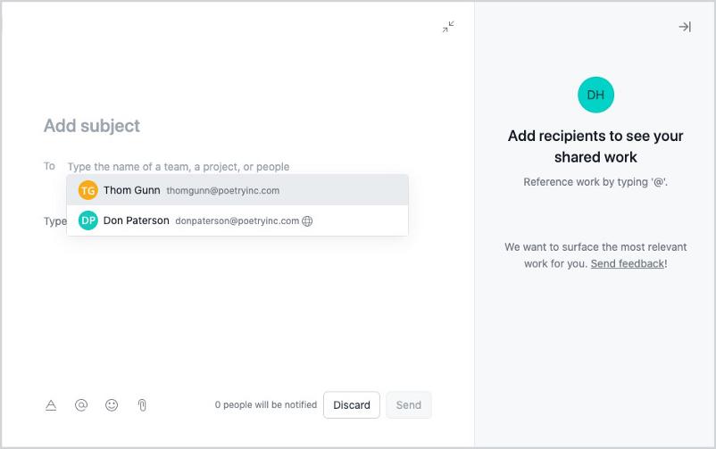 Asana new messages screen showing recipient inputs