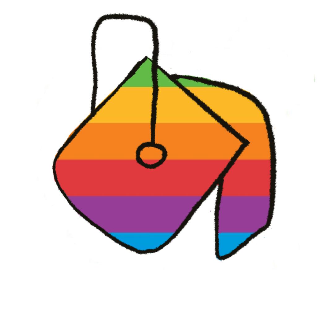 A rainbow colored paint bucket pours paint