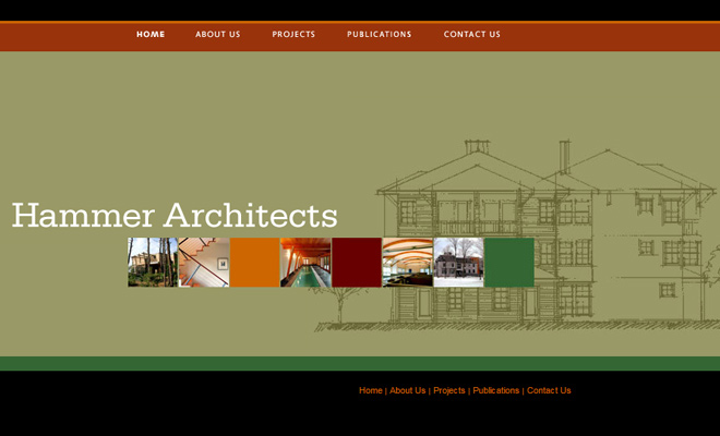 hammer architects website minimalist layout