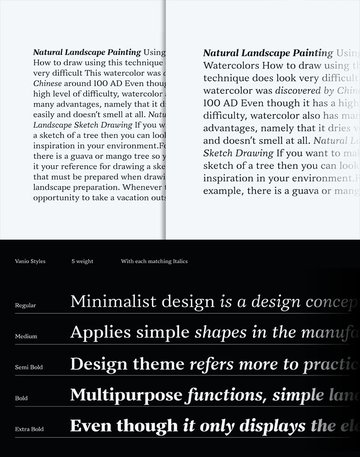 vanio classic typeface for book magazine classy book read legible