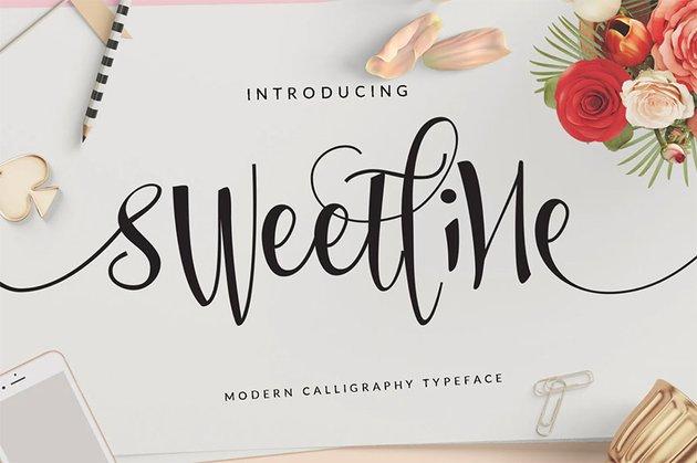 Sweetline Beautiful Script Font Wedding